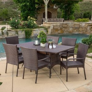 Kory Outdoor Brown Wicker Dining Set