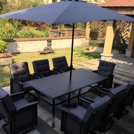 9-palmetto-black-aluminum-wicker-dining-set-450x450 Wicker Patio Dining Sets