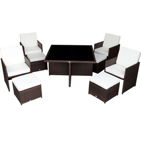 Outsunny 9PC Outdoor Rattan Wicker Dining Set