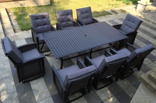 Palmetto Black Aluminum Wicker Dining Set