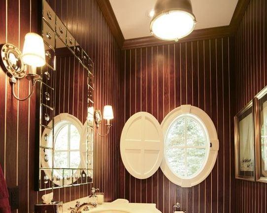 Teak-Powder-Room-by-Martin-Bros-Contracting-Inc 101 Indoor Nautical Style Lighting Ideas