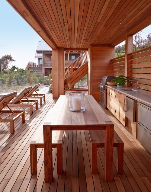 beach-style-deck-1 Outdoor Teak Benches
