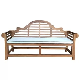 lutyens-teak-garden-bench-with-cushion Outdoor Teak Benches