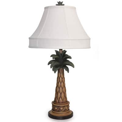 Tropical Brown and Green Palm Tree Lamp