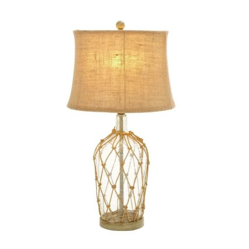 """Glass Bottle 29"""" Rope Table Lamp"""