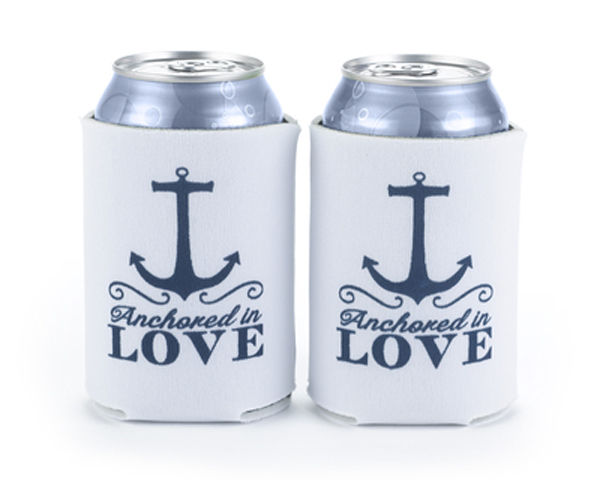Anchored-in-Love-Nautical-Can-Coolers The Best Beach Wedding Favors You Can Buy