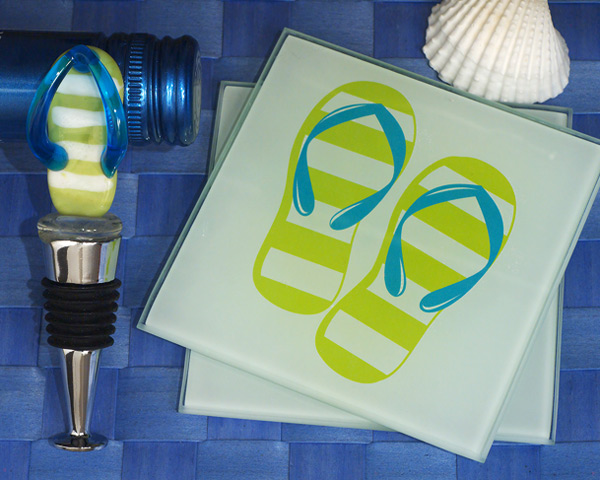 Murano-Art-Deco-Flip-Flop-Coaster-and-Bottle-Stopper-Set The Best Beach Wedding Favors You Can Buy