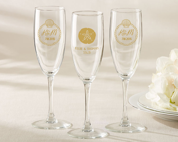 Personalized-Beach-Tides-Champagne-Flute The Best Beach Wedding Favors You Can Buy