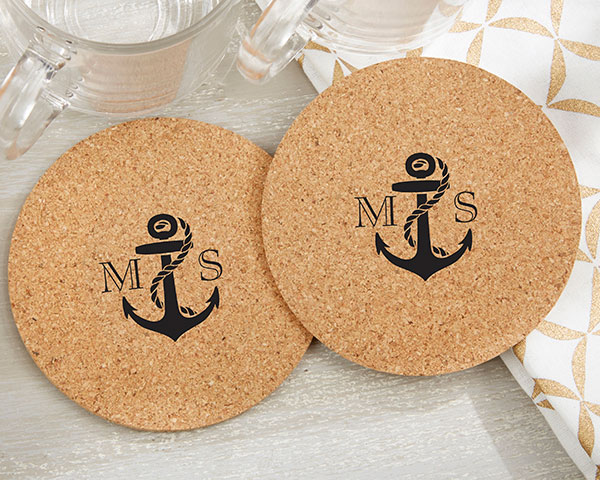 Personalized-Nautical-Themed-Round-Cork-Coasters The Best Beach Wedding Favors You Can Buy