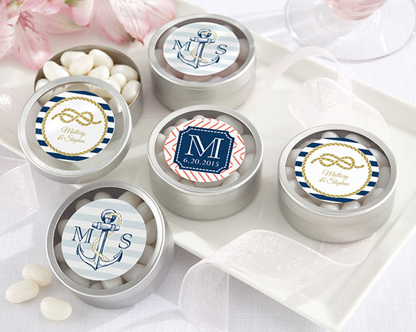 Personalized-Nautical-Wedding-Silver-Round-Candy-Tin The Best Beach Wedding Favors You Can Buy