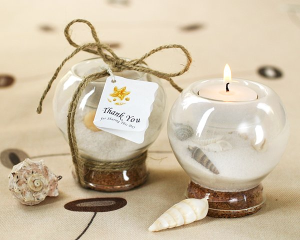 Sand-and-Shell-Tealight-Holder The Best Beach Wedding Favors You Can Buy