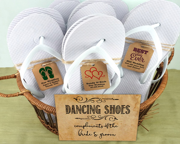 Wedding-Flip-Flops-w-Personalized-Kraft-Tag The Best Beach Wedding Favors You Can Buy