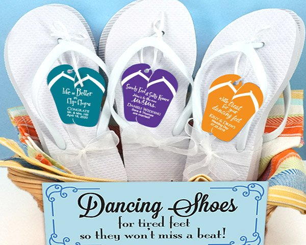 Wedding-Flip-Flops-wPersonalized-Flip-Flop-Tag The Best Beach Wedding Favors You Can Buy