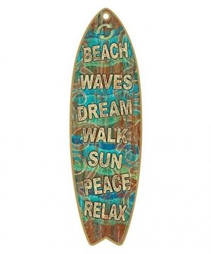 beach waves surfboard wooden sign