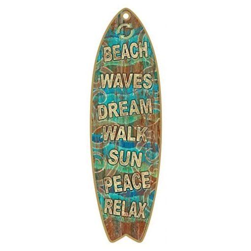 beach waves surfboard wooden sign