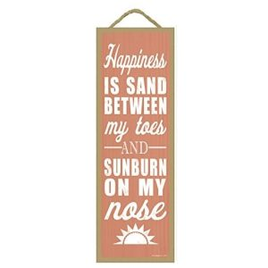 happiness is sand between my toes wooden sign