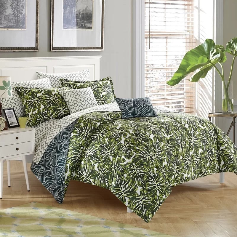 palm-springs-8-piece-reversible-comforter-set The Best Palm Tree Bedding and Comforter Sets