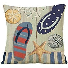 3-flip-flop-seashells-throw-pillow-cover Coastal Throw Pillows & Beach Throw Pillows