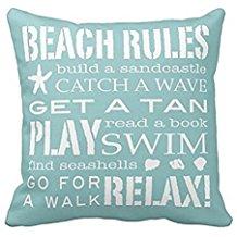 5-beach-rules-throw-pillow Coastal Throw Pillows & Beach Throw Pillows