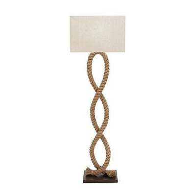 Benzara Wood Metal Rope Pier Floor Lamp