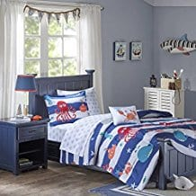 fish-whales-and-octopus-nautical-kids-bedding-set Kids Beach Bedding & Coastal Kids Bedding