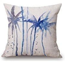 palm-tree-watercolor-throw-pillow Coastal Throw Pillows & Beach Throw Pillows