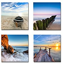 1-four-beach-canvas-giclee-wall-decor Beach Wall Decor