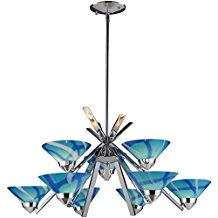 10-caribbean-glass-shade-chandelier Beach Chandeliers & Coastal Chandeliers