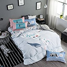 100-Cotton-Whale-Pattern-Duvet-Cover-Set 100+ Nautical Duvet Covers and Nautical Coverlets For 2020