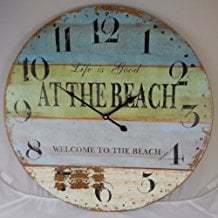 2-life-is-good-at-the-beach-wall-clock Beach Wall Decor