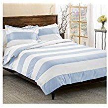 3-Piece-Light-Blue-White-Rugby-Stripes-Duvet-Cover 100+ Nautical Duvet Covers and Nautical Coverlets For 2020