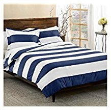 3-Piece-Navy-Blue-White-Rugby-Stripes-Duvet-Cover-Full-Queen-Set 100+ Nautical Duvet Covers and Nautical Coverlets For 2020