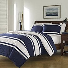 3-Piece-Navy-Blue-White-Rugby-Stripes-Duvet-Cover 100+ Nautical Duvet Covers and Nautical Coverlets For 2020