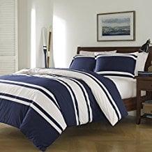 3-Piece-Navy-Blue-White-Rugby-Stripes-Duvet-Cover 100+ Nautical Duvet Covers and Nautical Coverlets