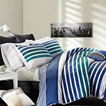 3-Piece-Off-White-Teal-Navy-Blue-Rugby-Stripes-Duvet-Cover-Full-Queen-Set 100+ Nautical Duvet Covers and Nautical Coverlets