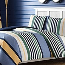3-Piece-White-Green-Blue-Yellow-Rugby-Stripes-Duvet-Cover-King-Set 100+ Nautical Duvet Covers and Nautical Coverlets For 2020