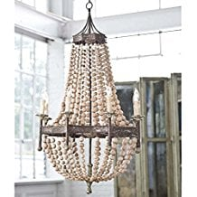 7-wood-beads-chandelier Beach Chandeliers & Coastal Chandeliers