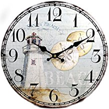 8-lighthouse-sand-dollar-wall-clock Beach Wall Decor