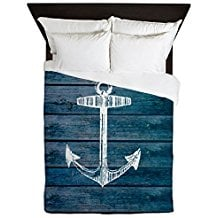 CafePress-Anchor-On-Blue-Faux-Wood-Graphic-Queen-Duvet-Cover 100+ Nautical Duvet Covers and Nautical Coverlets
