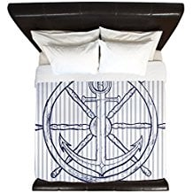 CafePress-Nautical-Anchor-On-Grey-Stripe-King-Duvet-Cover 100+ Nautical Duvet Covers and Nautical Coverlets For 2020