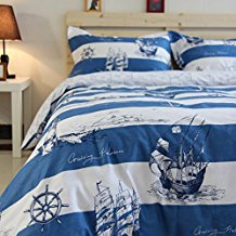Mediterranean-Ocean-Sailing-Boat-Duvet-Cover-Set 100+ Nautical Duvet Covers and Nautical Coverlets For 2020