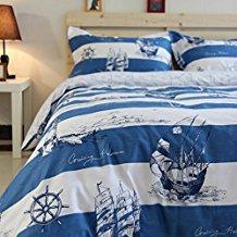 Mediterranean-Ocean-Sailing-Boat-Duvet-Cover-Set 100+ Nautical Duvet Covers and Nautical Coverlets