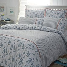 Merryfeel-100-Cotton-Printing-Duvet-Cover-Set-Ivory-and-Blue-Sailboat 100+ Nautical Duvet Covers and Nautical Coverlets