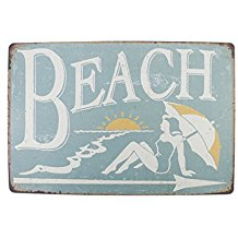 Metal-Beach-Sign-Vintage Beach Wall Decor