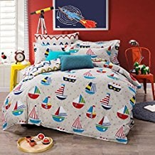 Sailboat-in-the-Sea-Duvet-Cover-Set 100+ Nautical Duvet Covers and Nautical Coverlets For 2020