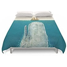 Society6-The-Whale-Duvet-Covers 100+ Nautical Duvet Covers and Nautical Coverlets