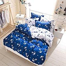 Zhiyuan-Anchor-Pattern-Blue-White-Duvet-Cover 100+ Nautical Duvet Covers and Nautical Coverlets