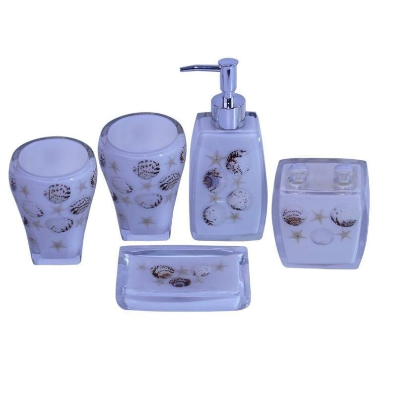 five-piece-beach-bathroom-accessory-set-800x800 100+ Best Beach Bathroom Decorations 2020
