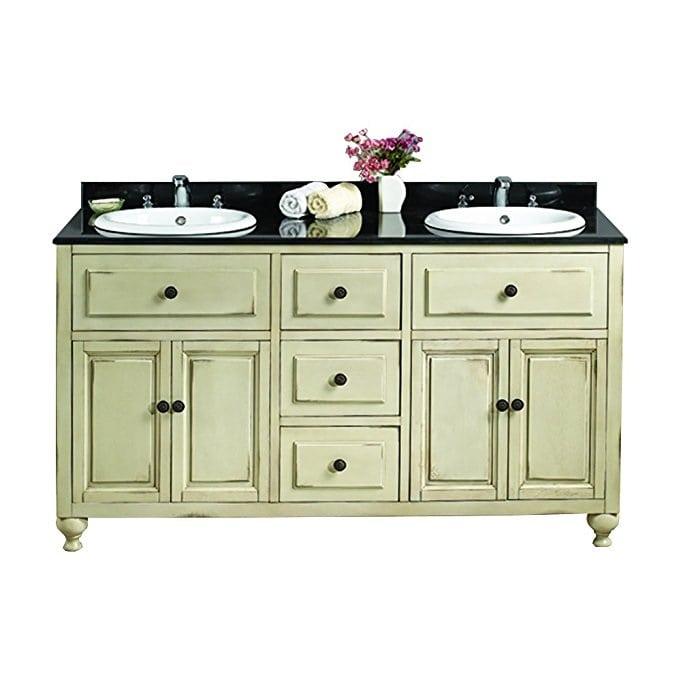 granite-top-green-bathroom-vanity 100+ Best Beach Bathroom Decorations 2020