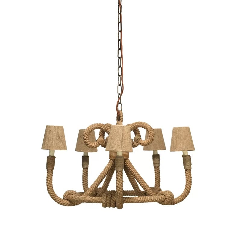jute-5-light-candle-style-chandelier Nautical Chandeliers